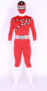 New design red super hero TG No1 logo Lycra Body Suit Fancy Dress bodysuit