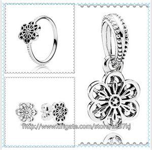 925 стерлингового серебра кольцо серьги и ювелирные изделия подвески кулон наборы с коробкой подходит Европейский ювелирные изделия браслеты ожерелья - цветочные Дейзи