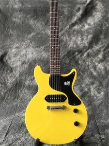 Chegada nova venda quente guitarra elétrica cor amarela uma peça captador ponte real guitarra fotos de alta qualidade
