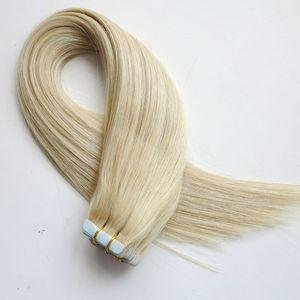 Лента в человеческих волос 18 20 22 24inch #60A цвет клей кожи утки PU ленты человеческих волос