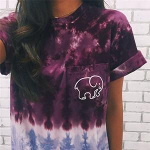 2 colori 2018 estate Moda donna avorio ella elefante stampato t shirt donna maniche corte donna tee t-shirt top ragazza tshirt