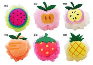 Forma de la fruta de alta calidad Puf Esponja Spa Manija Ducha Cuerpo Scrubber Ball Colorido Cepillos de baño Esponjas DDG4