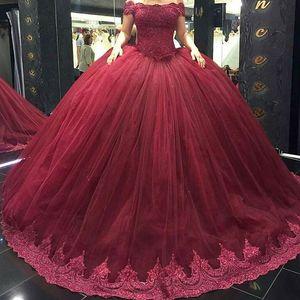 Sweetheart 반팔 Sweet 16 Princess Quinceanera Dresses 2017 부르고뉴 볼 가운 Tulle Beaded Crystal 봄 여름 새로운 파티 드레스