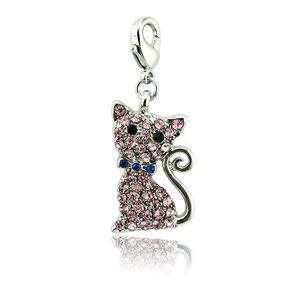 Comercio al por mayor de Moda Broche de Langosta Encantos Rhinestone Cat Animal Colgantes DIY Locket Flotante Para Encantos de La Joyería Componente