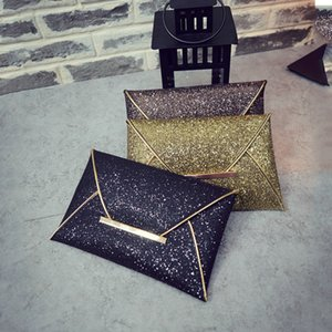 Wholesale-Fashion Envelope style Lady Sparkling Dazzling Sequins Clutch Bag Purse Evening Party Handbag Day Clutches 2016 Hot Sale