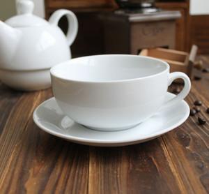 Al por mayor de 300 ml de boca ancha blanco personalizado de cerámica taza de café y conjunto platillo taza moca y platillo