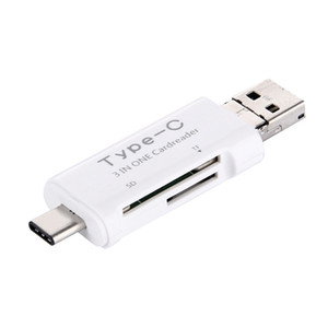 3 in 1 USB 3.1 Tipo C Micro USB OTG Card Reader Micro SDHC SD TF Tipo-C Card Reader per Samsung Note7 S7 iPhone7 Macbook Notebook
