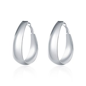 Fashion Classic Big Circle Hoop Earrings Huggie 925 Silver Plated Earrings for Sexy Women New Design Factory Price Beautiful Gift
