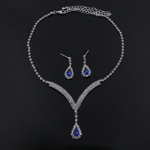 Luxury sparkly V Shaped Jewelry Sets for Wedding Prom Evening Cocktail Bridal Accessories rhinestone crystal pendant necklace earrings set