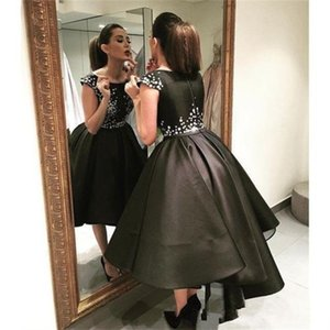 작은 검은 드레스 짧은 미니 칵테일 파티 댄스 파티 드레스 지퍼가 모자를 씌운 슬리브 2017 졸업 동창회 드레스