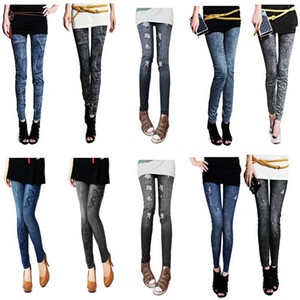 2 colori 7 stile casual denim donna elastico jeans skinny jeggings pantaloni sexy elastici sottili pantaloni leggings