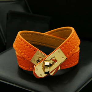 Weinlese-mehrschichtige PU-Leder-H-Armbänder für Frauen Stulpearmbänder Männer Goldschnalle Armband Pulseras Hombre Mann Accessoires Schmuck