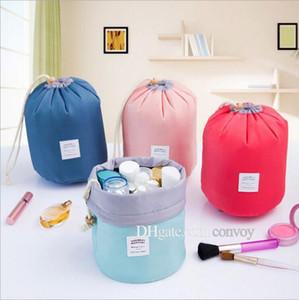 Женские водонепроницаемые сумки для хранения организатор цилиндр косметический мешок нейлон шнурки путешествия сумка бесплатная Dhl MPB19