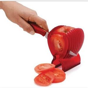 Bonne Qualité Fruits Légumes Outils De Coupage En Plastique Rouge Porte Tomate Trancheuse Guide Coupeur De Pommes De Terre / Oignons