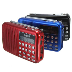 Envío gratuito Mini portátil 50 mm magnético interno T508 LED estéreo FM Radio altavoz USB TF tarjeta MP3 reproductor de música