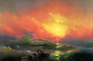 Ivan Constantinovich Aivazovsky -The Ninth Wave - Seascape sunset,Pure Handpainted Art oil painting On High Quality Canvas Multi Size