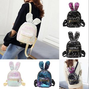 Girls Sequins Rabbit Ear Backpack Women Shoulder Bag Schoolbags Handbag Satchel Bag Cute Bling Mini Backpacks OOA3800