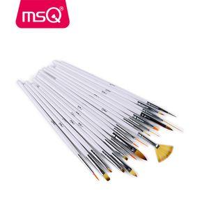 Msq Profesyonel 18 adet Basit Kozmetik Fırça Seti Samur Saç Tırnak Fırçası Çevre Ahşap Saplı Makyaj Fırça Seti