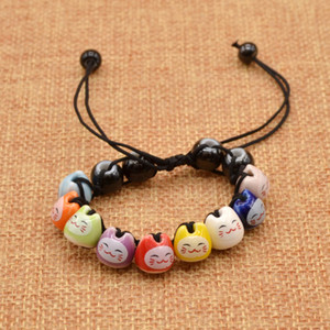 Wholesale-Handmade Creamic  Charm Fortune Money Cat Red String Lucky Bracelet Adjustable