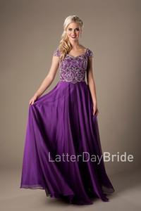 Prickelnd stark perlenbesetztes Mieder lila lange bescheidene Abendkleider mit Flügelärmeln bodenlangen Abendkleider hohe Qualität plus Größe