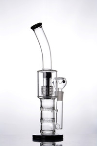 Bent neck glass bubbler with matrix honeycomb perc glass bongs dab rig water pipe with 14mm joint