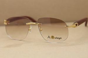 La decoración de madera diseñador T8100928 marco sin montura gafas de sol y gafas de madera de oro de la moda gafas de sol ornamental Tamaño del marco: 56-18-140mm