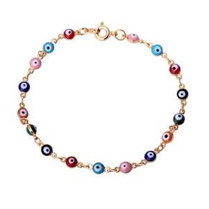 """Retro 18 Karat Gelbgold Überzogene Multicolor Evil Eye Gliederkette Armbänder Armreifen Modeschmuck Bijoux für Frauen 20 cm 7,87 """""""