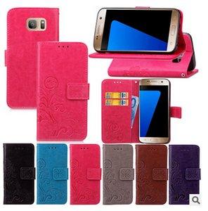 Retro Çiçek Baskı Çevirme Cüzdan PU Deri Kılıf Kapak Kart Yuvası ile Standı tutucu iphone 7 5 S SE 6 6 S artı Samsung Galaxy S7 S6 kenar DHL