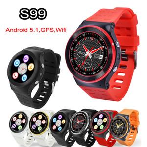 3G Android 5.1 Smart Watch Teléfono Wifi Bluetooth Smartwatch ZGPAX S99 Monitor de ritmo cardíaco Quad Core 4GB 1.3GHz HD Cámara GPS Relojes deportivos DHL