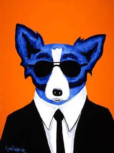 gözlüklerle mavi köpek Soğuk çerçeveli, hakiki Yüksek Kalite Saf El Boyalı Duvar Dekor Sanat Yağ tuval Mulit boyutlarına boyama