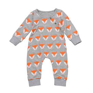Toddler bebek bebek rompers tilki kafası tulumlar yenidoğan erkek kız bodysuits kıyafetler tek parça çocuk pamuk çocuk giyim uzun kollu