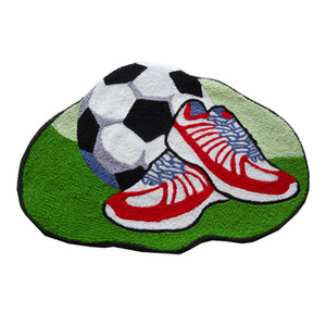 Football and Shoes Style Hand Hooked Mat Living Door Mats, Anti-slip Embroidered Porch Doormat Floor Carpet Kitchen Rugs Gift