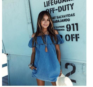 Женские платья Новый дизайнер одежды Loose Slash Neck Jeans Dresses Summer Casual Sleeveless Ladies Elegant Denim Dresses