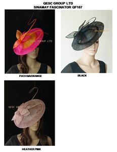 NUOVO BIG piattino Sinamay Fascinator Hat con spina dorsale per matrimonio, kentucky derby fucsia / arancio, heather, rosa melange.