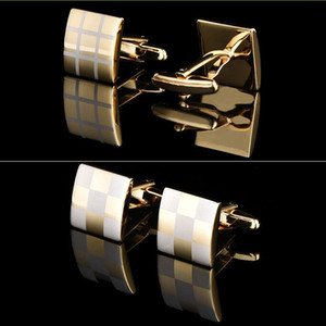 Gold Pattern Cufflinks 3 color square Cufflink 16mm French Cuff Links for wedding Father's day Christmas Gift FREE SHIPPING