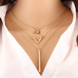 Nueva Hot Sexy Multi Layer Collar de cadena triángulo geométrico de tres capas de oro Declaración de cadena de joyería de mujer verano collares Mujer Venta
