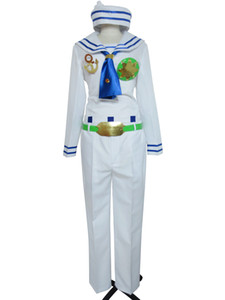 Jojo's Bizarre Adventure Josuke Higashikata Halloween White Sailor Uniform Cosplay Costume