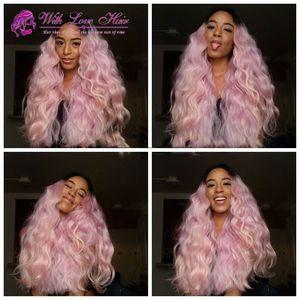 Natural Ombre Light Pink onda Do Corpo Resistente Ao Calor Cabelo Sintético Lace Front Perucas Para As Mulheres Epacket Frete Grátis