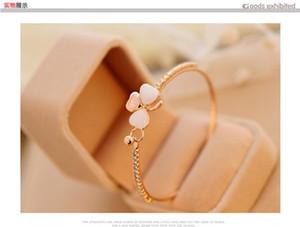 Lüks yonca opal elmas bilezik Kore moda takı hediye beyaz kadınlar için Rhinestone Kristal Zincirleri Tenis Toplama eğlence accessori