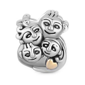Il cuore dei monili delle signore ama i miei bambini dei genitori della famiglia i branelli europei dei braccialetti del grande foro di fascini del branello per Pandora