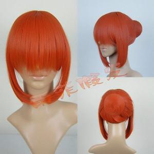 Nueva alta calidad pelucas de imagen de moda pelucas de juego | Gintama | Artículos de Kagura Yoshihara | bollo extraíble peluca naranja