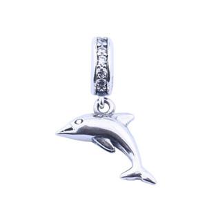 Oyuncu Yunus Dangle Charms DIY Bilezikler Aksesuarlar Yapımı İçin Otantik 925 Gümüş Takı Dolphin Hayvan kolye Boncuk Beads
