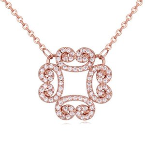 Chokers Necklaces Jewelry Fashion Women High Quality Zircon 18K Gold Plated Hollow Out Flower Clavicle Chain Necklace Wholesale TN047