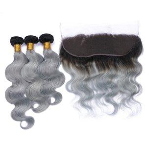 13x4 frontales llenos de encaje con el pelo brasileño 9A Virgin Body Wave Bundles Ombre # 1B / Grey Two Tone Hair Weaves With Lace Frontal