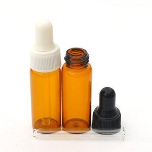 100 adet Küçük Amber Cam Şişe Uçucu Yağ Parfüm Için Tiny Taşınabilir 5 ml Şişe Boş Kozmetik Temizle Damlalık Şişeler