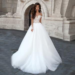 Sheer Off плеча шампанское и белое Два камня Свадебное платье бальное платье с длинными рукавами свадебное платье Платье-де-Noiva сексуальный