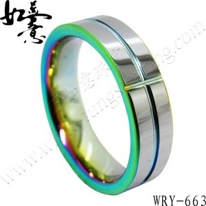 Farbige Wolframkarbidringe 6mm Unisex-Modeschmuck-Ring Hip Hop WRY-663