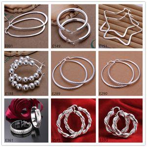 Высококачественный оптом мода обруч Hubgie стерлинговые серебряные серьги 10 пар Смешанный стиль женщины 925 серебряная серьга GTE60