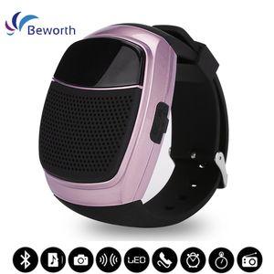 B90 스포츠 Bluetooth 스피커 핸즈프리 통화 TF 카드 재생 FM 라디오 셀프 타이머 무선 스피커 스마트 시계 시간 표시