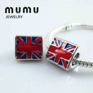 Comercio al por mayor Diy Jewelry Flag Charm Beads Silver Plated UK Flag Gran agujero Loose Beads Charms adapta European Snake Charms pulseras envío gratis